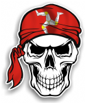 GOTHIC BIKER Pirate SKULL HEAD BANDANA Isle Of Man Mann Manx Flag Vinyl Car Sticker 100x121mm